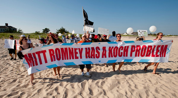 Protesters heading for the Koch residence